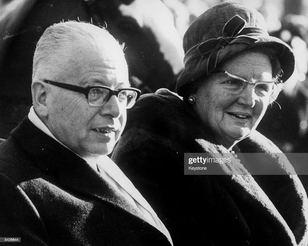 President Gustav Heinemann of West Germany with Queen Juliana of the Netherlands, during his state visit to Amsterdam.