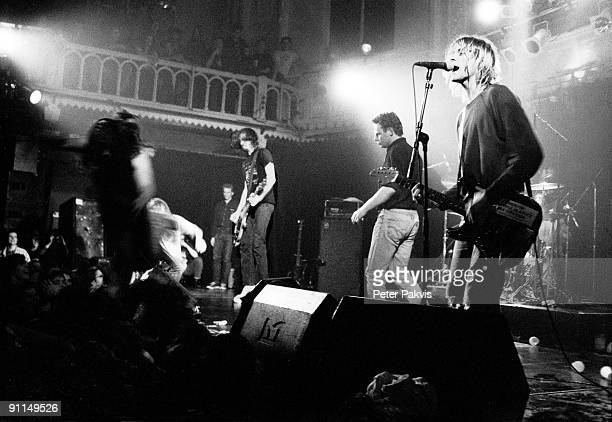 bassist Krist Novoselic and guitarist Kurt Cobain from American rock band Nirvana perform live on stage at Paradiso in Amsterdam Netherlands on 25th...