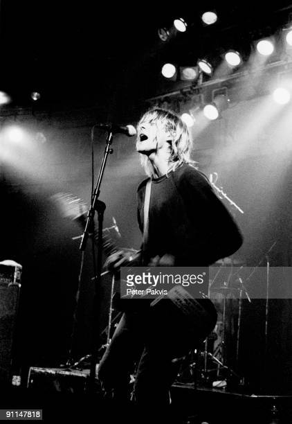 Kurt Cobain from American rock band Nirvana performs live on stage at Paradiso in Amsterdam Netherlands on 25th November 1991