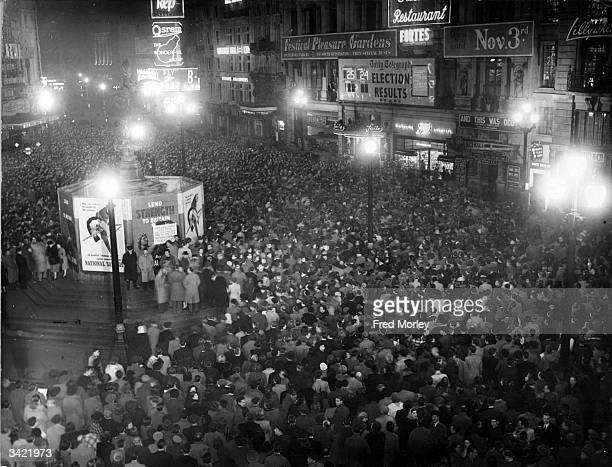 Part of a large crowd gathered in Piccadilly Circus to hear the result of the General Election