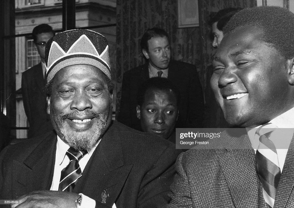 Kenyan Prime Minister Jomo Kenyatta (1891 - 1978) with Tom Mboya, Minister of Justice and Constitutional Affairs, at the Kenyan independence conference at Lancaster House in London.