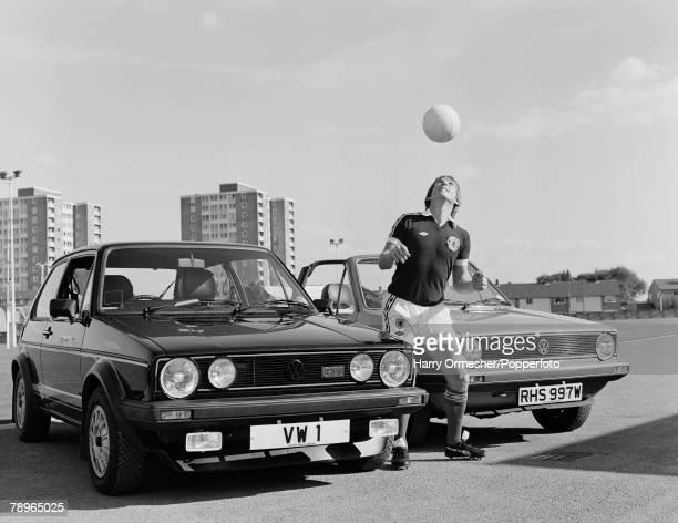 25th September 1980 Advertising Liverpool and Scotland footballer Kenny Dalglish wearing his Scotland kit heading the ball
