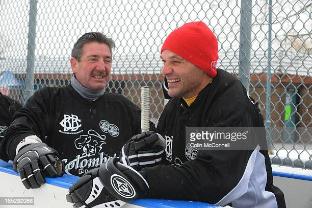 FEB 262011pics of l to r bill derlago and lou franceschetti share a laugh on the police bench HOCKEY game in honour of sgt russell who was killed...