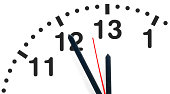 Five minutes before extended deadline on imaginary 26h clock. Time, stress or rush business concept.