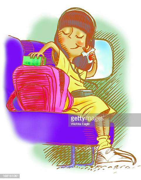 26p x 33p Tim Ladwig color illustration of girl sitting in bus listening to CD player and pulling food out of a backpack