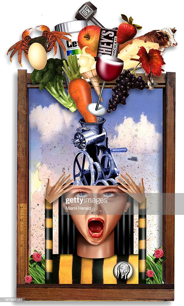 26p x 44p Philip Brooker color illustration of screaming woman, hands held to her head. A variety of foods - healthy to junk - are tumbling into a food mill, which is rising out of her brain.