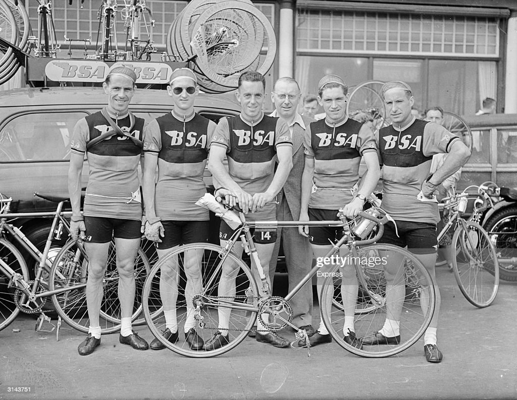 The BSA team at the start of a Daily Express Tour of Britain cycle race from Hastings to Southsea. The members are Maitland, Procter, Thomas, Newman and Jones.