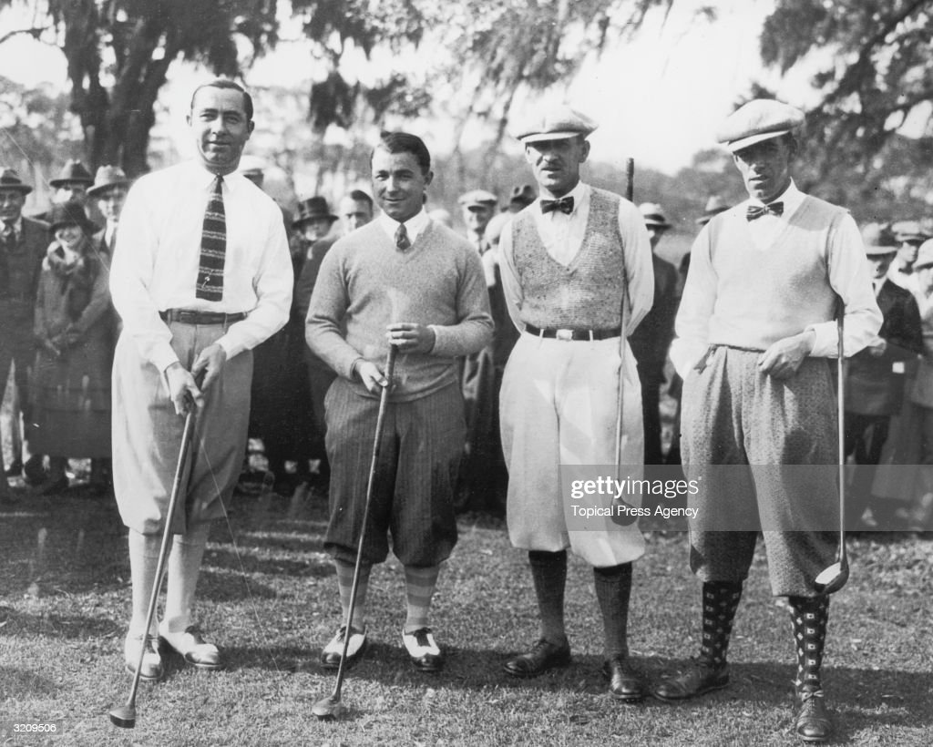 From left to right Walter Hagen and Gene Sarazen of the United States and Abe Mitchell and George Duncan of England during a special international...