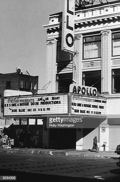 Exterior view of the Apollo Theater at 125th Street in Harlem New York City KRS One Boogie Down Productions with Rob Base are featured are the marquee