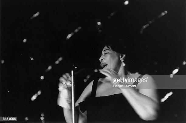 American jazz singer Ella Fitzgerald on stage at the Hammersmith Odeon London