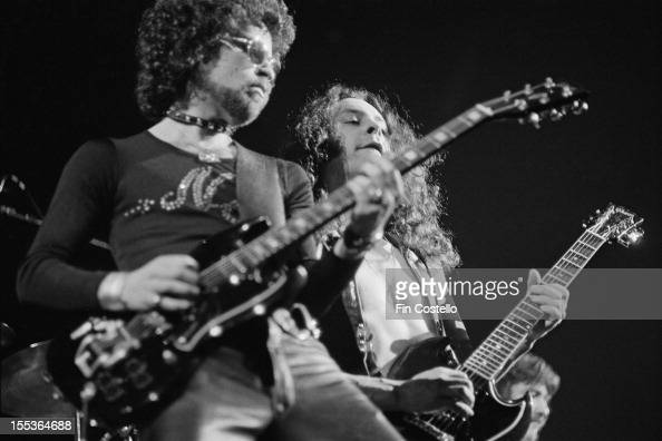 Eric Bloom and Allen Lanier from Blue Oyster Cult perform live on stage at the Coliseum in New Haven Connecticut on 26th February 1975