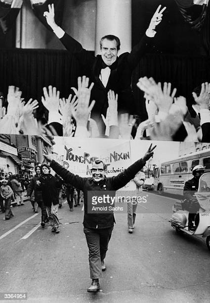 A montage of two photographs showing American president Richard Nixon giving a double Vsign during the Inaugural Ball to celebrate his election to a...