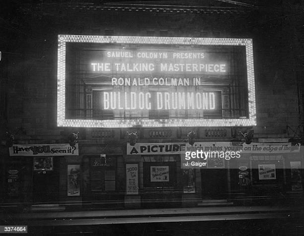 The Tivoli theatre in The Strand London advertising the Samuel Goldwyn film 'Bulldog Drummond' starring Ronald Colman