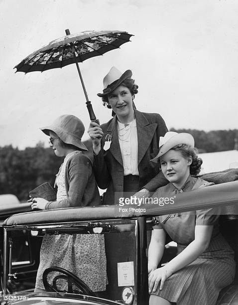 The Honourable Mrs Alice Pearl PleydellBouverie formerly Lady Montagu of Beaulieu and her two daughters at the New Forest Horse Show in Lyndhurst...
