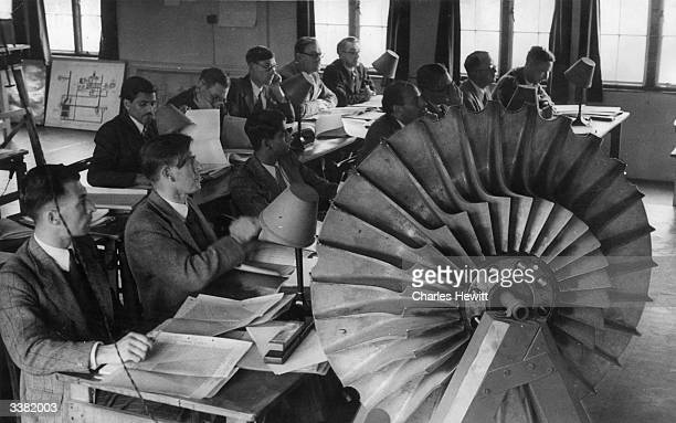 Students at Lutterworth Gas Turbine College where Frank Whittle made his early power jet experiments attending a course in gas turbine technology...