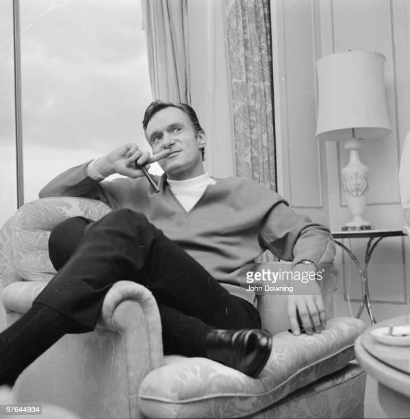 Millionaire Hugh Hefner founder of the Playboy empire during a visit to Britain