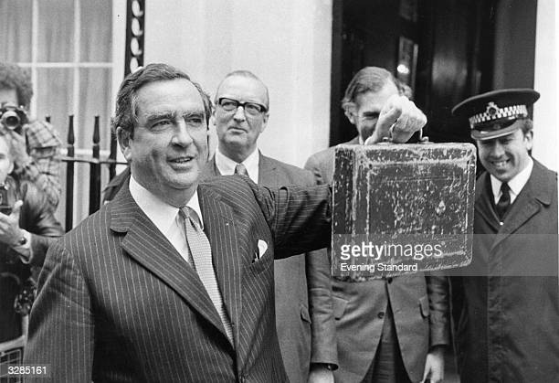 British Chancellor Denis Healey with the Budget Box at Downing Street