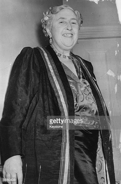 English author Agatha Christie famous for her detective novels featuring the Belgian detective Hercule Poirot and the village spinster Jane Marple
