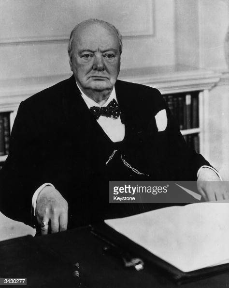 An official portrait of Sir Winston Churchill taken to commemorate his 80th birthday in the cabinet room at No 10 Downing Street London