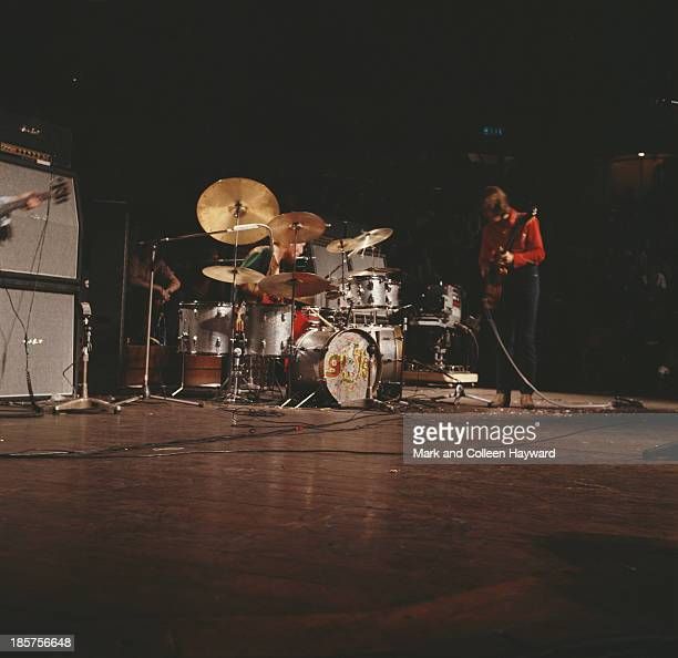 British rock group Cream perform live on stage at the Royal Albert Hall in London during the last night of the band's two farewell shows on 26th...