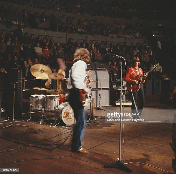 British rock group Cream perform live on stage at the Royal Albert Hall in London during the last of the band's two farewell shows on 26th November...