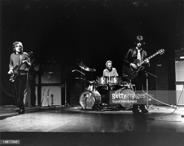 LR Jack Bruce Ginger Baker and Eric Clapton from Cream perform live on stage during their farewell performance at the Royal Albert Hall in London on...