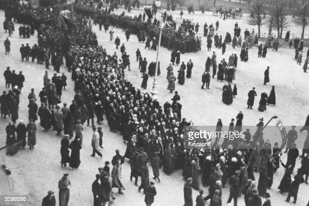 A mass demonstration in Petrograd formerly St Petersburg during the October phase of the Russian Revolution