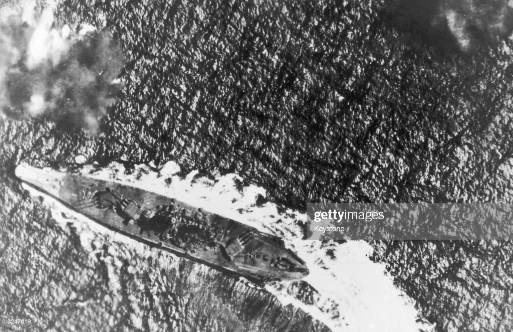 The Japanese battleship Yamato is attacked by US bombers during the battle of Leyte Gulf in the Philippines. The largest ship in action during World War II, she was later sunk by US forces on 7th April 1945, during a kamikaze mission to Okinawa.