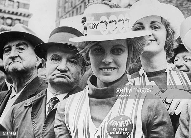 A group of Kennedy supporters at a democratic presidential election rally in New York