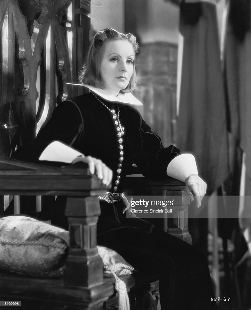Swedish born American actress Greta Garbo in costume for her role in the film 'Queen Christina'