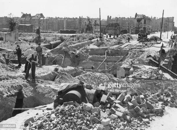 At work clearing Berlin's ruins The dangerous buildings were blown up and reduced to rubble
