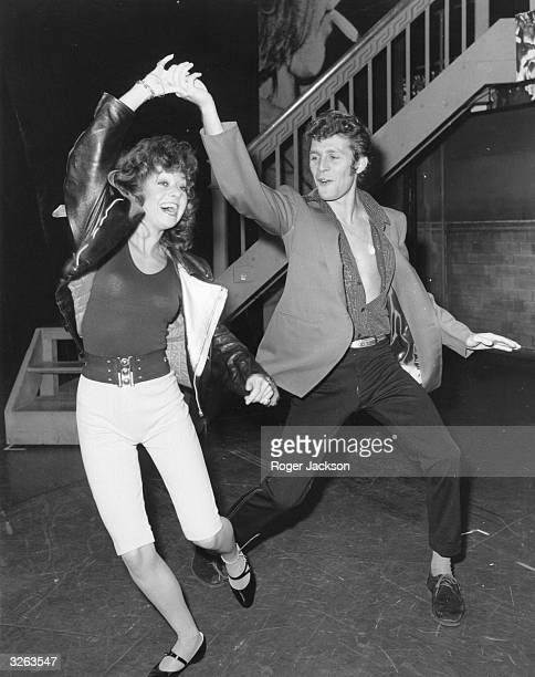 Actor and singer Paul Nicholas dances with Elaine Paige in preparation for their roles in the hit musical 'Grease'