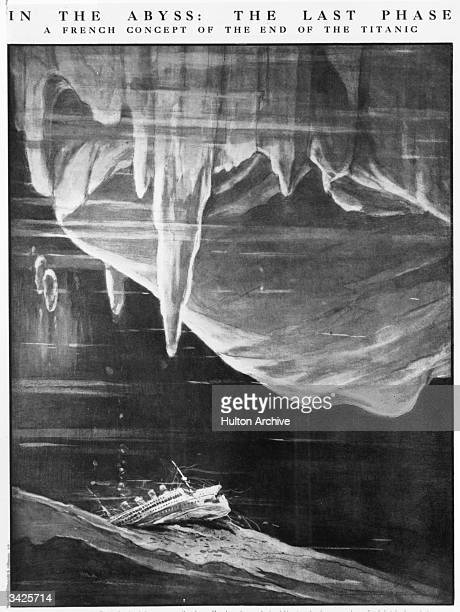 An illustration by Frenchman Henry Laros of the imagined fate of the White Star liner the 'Titanic' lying on the sea bed under pack ice Original...