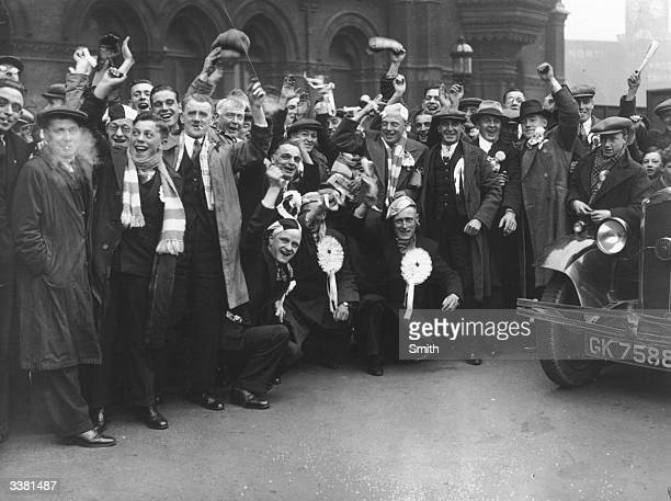 Exuberant and expectant supporters of Sheffield Wednesday FC arrive at London's St Pancras Station for their team's FA Cup final match against West...