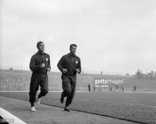Arsenal players Denis Compton and his brother Leslie in training together