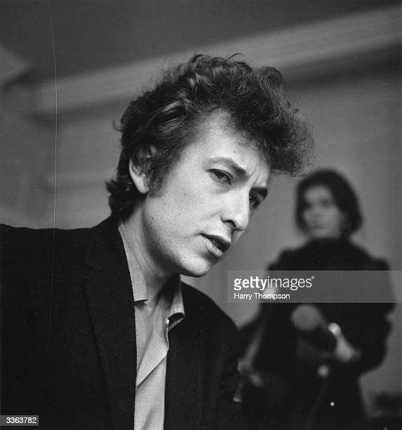 American electric folk singer songwriter Bob Dylan meets the British press