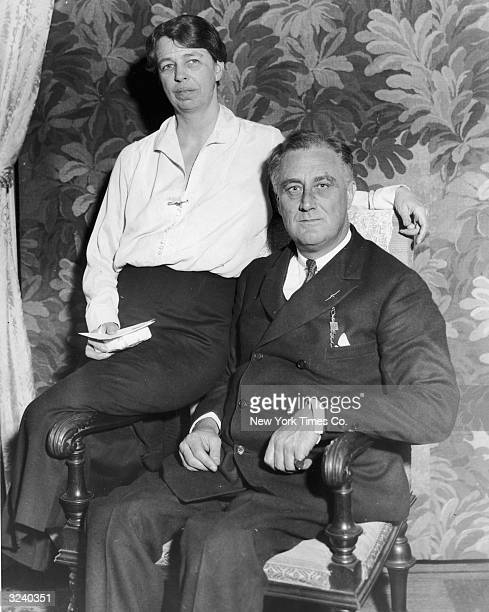 Portrait of United States Presidentelect Franklin Delano Roosevelt with his wife Eleanor Roosevelt shortly before he took office Hyde Park New York
