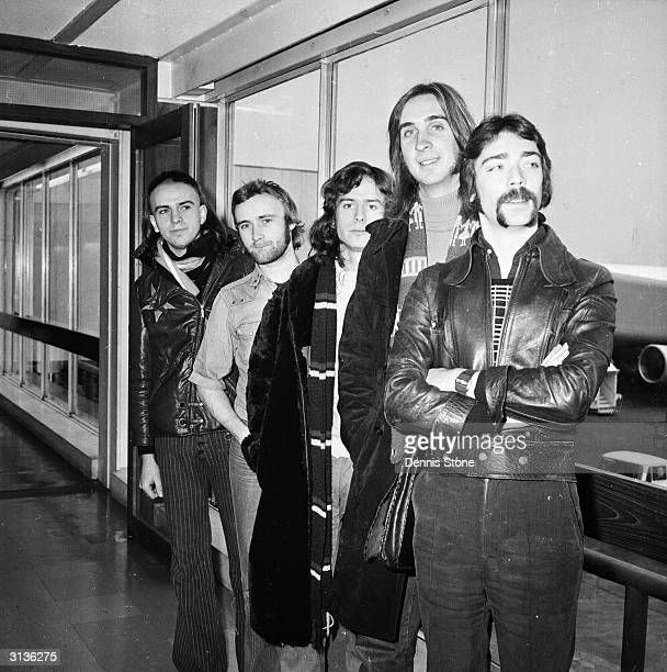 British rock group Genesis Peter Gabriel Phil Collins Tony Banks Mike Rutherford and Steve Hackett at London Airport
