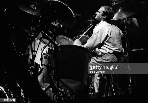 Phil Collins from Genesis performs live at the drums on stage at Ahoy in Rotterdam Netherlands on 27th February 1985