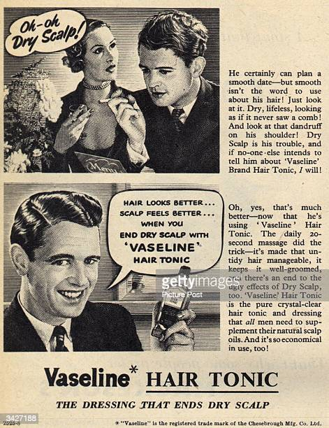 A man's date introduces him to Vaseline Hair Tonic which combats a dry scalp and dandruff Original Publication Picture Post Ad Vol 50 No 4 P 41 pub...