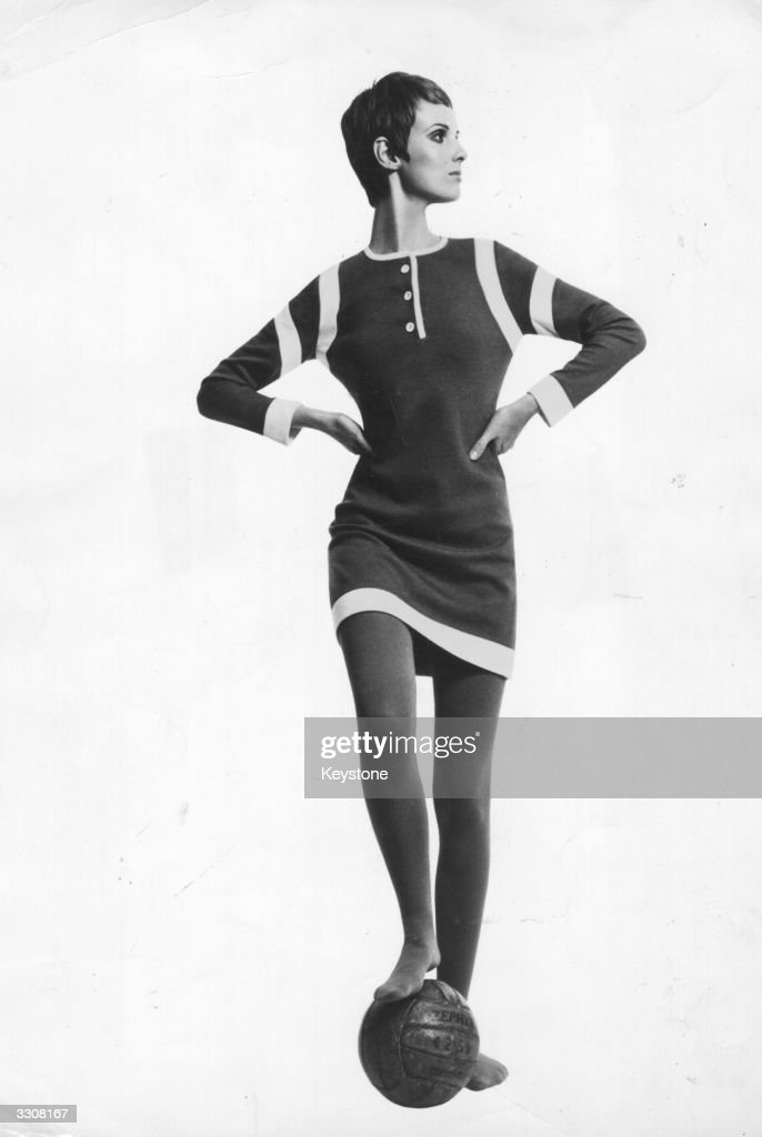 A model wearing a mini-dress in bonded wool jersey, inspired by a football strip, designed by Mary Quant's Ginger Group.