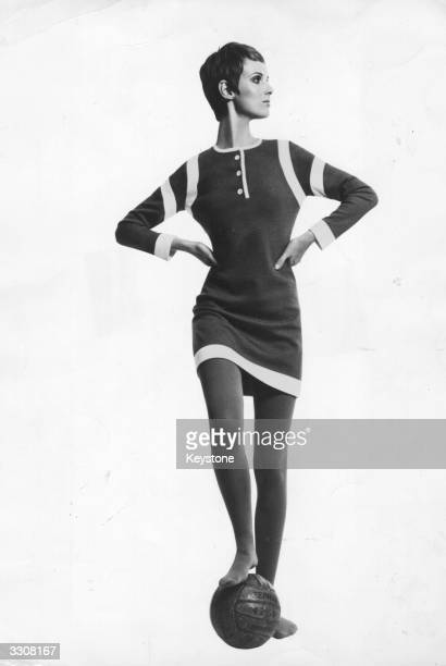 A model wearing a minidress in bonded wool jersey inspired by a football strip designed by Mary Quant's Ginger Group