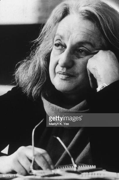 Headshot of American author and feminist leader Betty Friedan leaning on her hand during a Governor's conference on families at Fordham University...