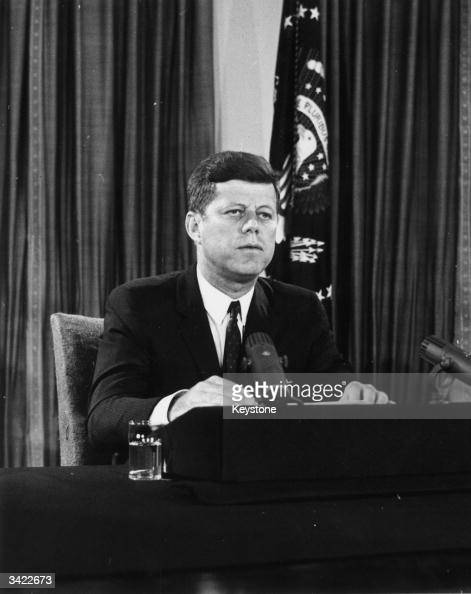 John F Kennedy the 35th President of the United States of America speaking during his telebroadcast in which he called for a substantial increase in...