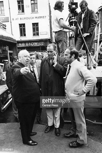 Alfred Hitchcock directing location scenes in Covent Garden London for his film 'Frenzy' It is the first film he has shot in London for 21 years