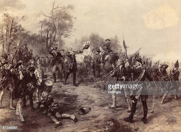 27th June 1743 King George II of Great Britain and Elector of Hanover at the battle of Dettingen in Bavaria during the War of the Austrian Succession...