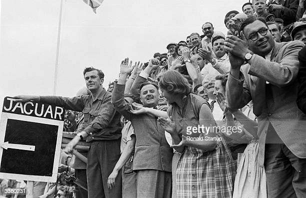 Spectators watching the 1953 Le Mans 24 Hour Race the oldest and most prestigious endurance race for sports cars from the stands at the Circuit de la...