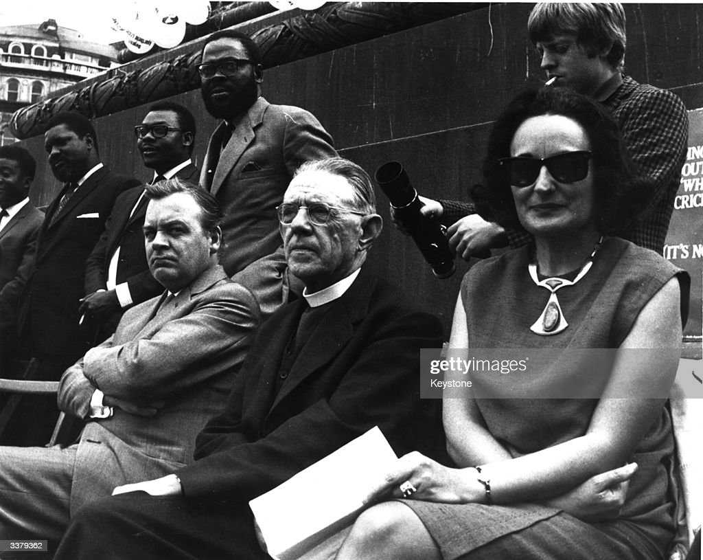 The AntiApartheid Movement's freedom day rally in Trafalgar Square London Listening to one of the speakers at the rally is Actor Patrick Wymark...