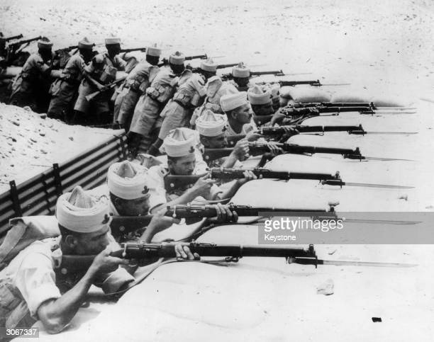 Egyptian troops on manoeuvres in the desert