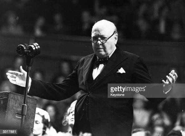 Sir Winston Leonard Spencer Churchill addressing a Women Conservatives meeting